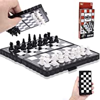 Qbic Mini Foldable Pocket Size Magnetic Travel Chess Set Board Game for Kids and Adults