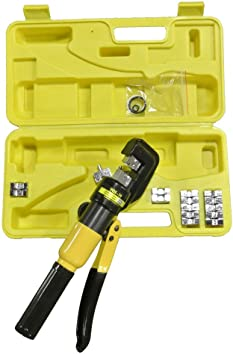 10 Ton Hydraulic Crimping Battery Cable Wire Crimper Lug Terminal Tool w// 9 Die