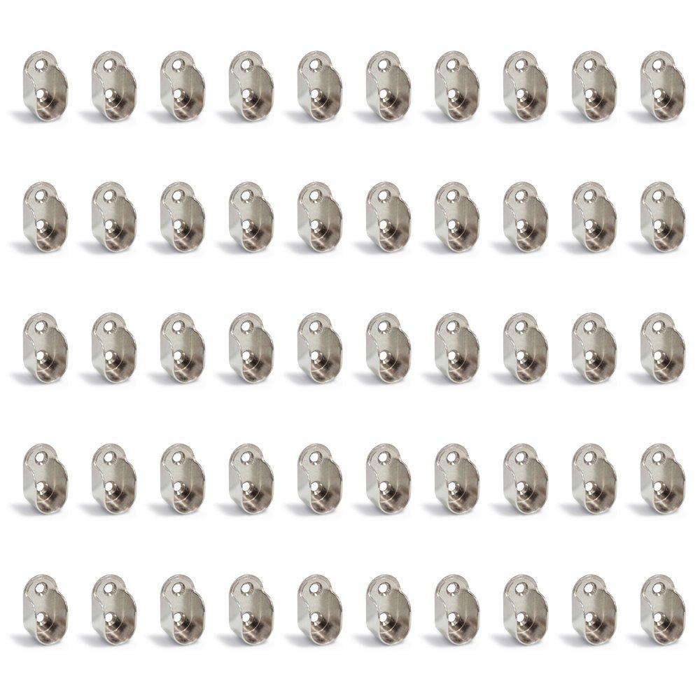 Set di 50 Emuca 7062407 Reggitubo laterale per asta di armario ovale Nichelato Zama