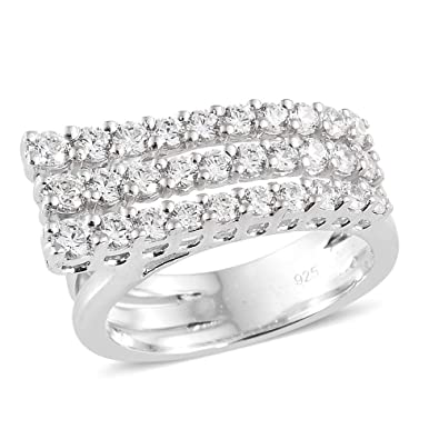 4e823e154 J FRANCIS Platinum Plated Sterling Silver Made with Swarovski® Zirconia  layer Ring for Women: Amazon.co.uk: Jewellery