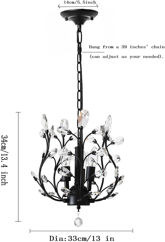 LuFun Modern Crystal Chandeliers,Crystal Pendant Light,Chandelier Lighting Fixtures,Ceiling Light for Living Room Bedroom Restaurant Hallway Black