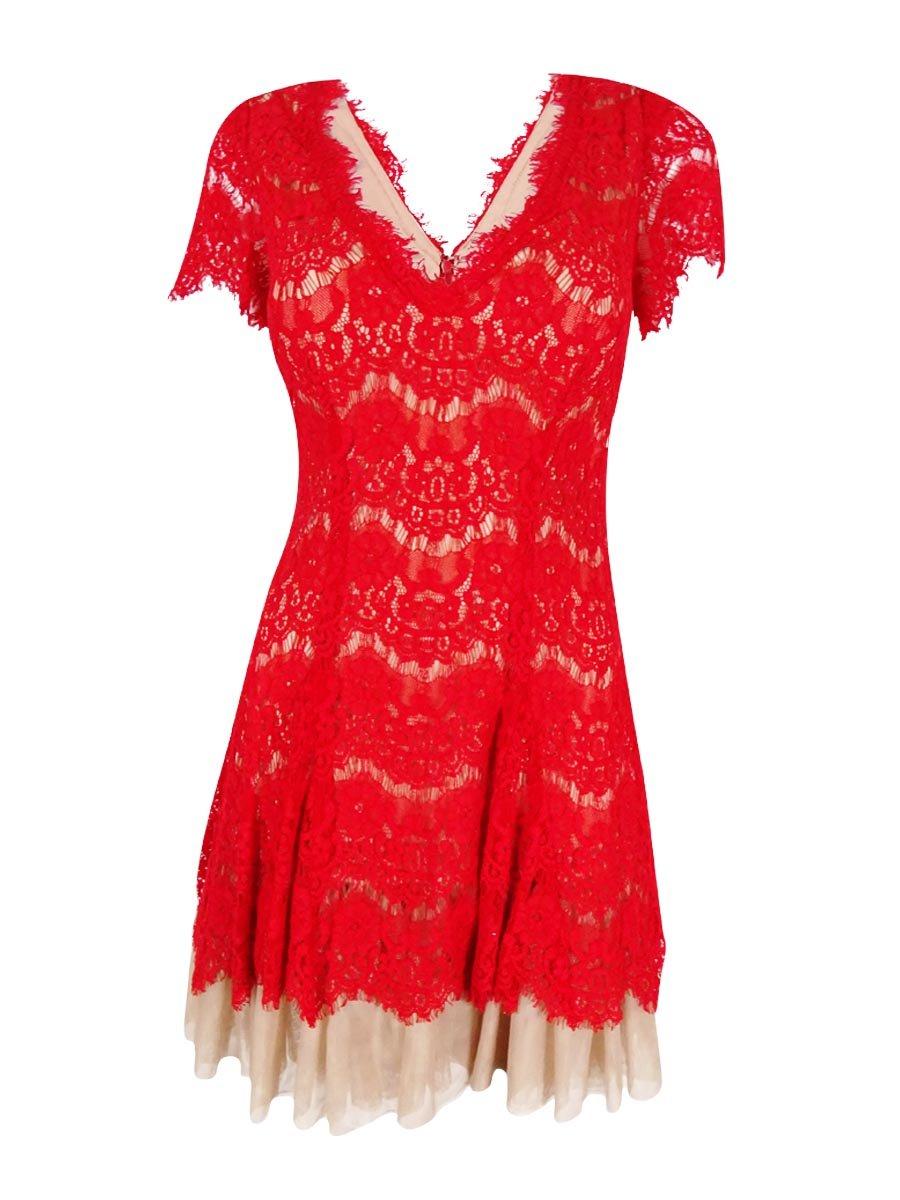 Betsy & Adam Women's Petite Cap Sleeve Lace Sheath Dress (8P, Red)