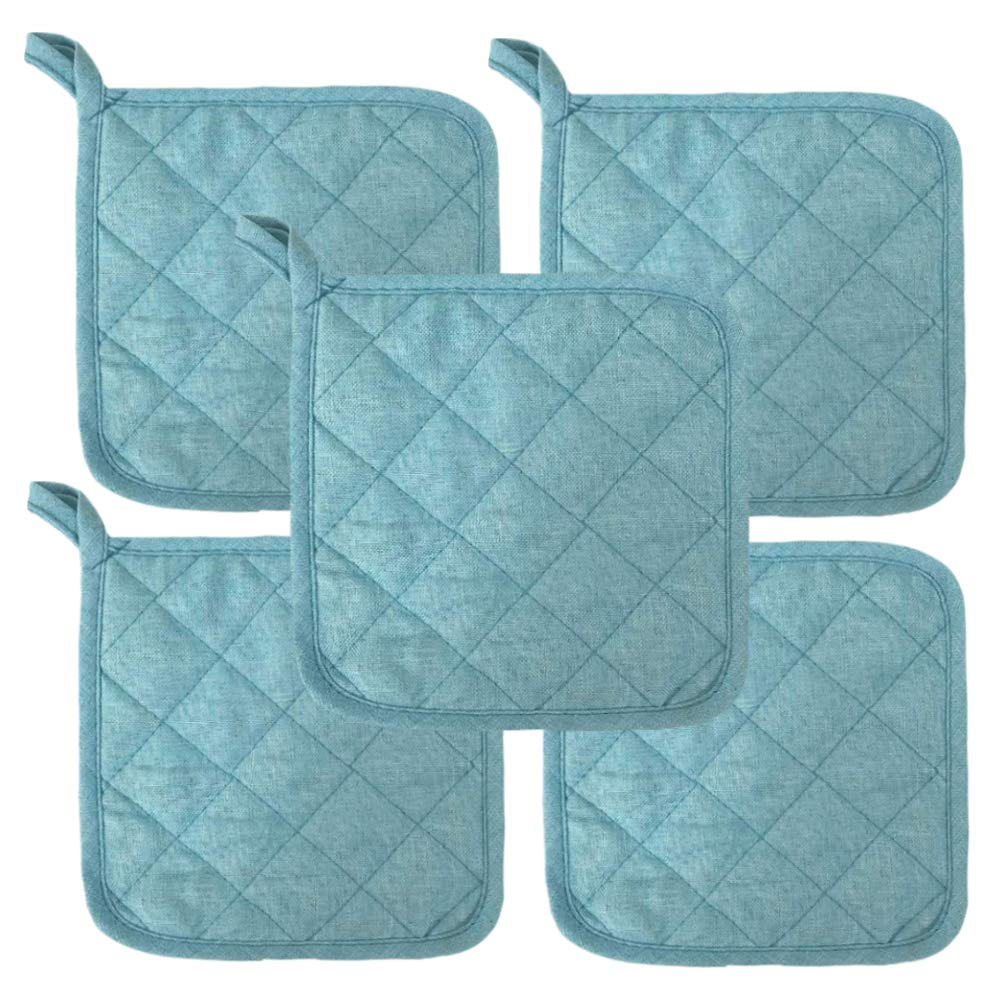 "Sky Blue Heat Resistant Pot Holders 6.5"" Square Solid Color (Pack of 10) 