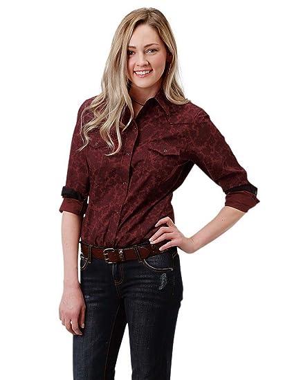 9ee4c53e850f7c Amazon.com: Roper Western Shirt Womens L/S Snap Print 1X Wine 03-050 ...