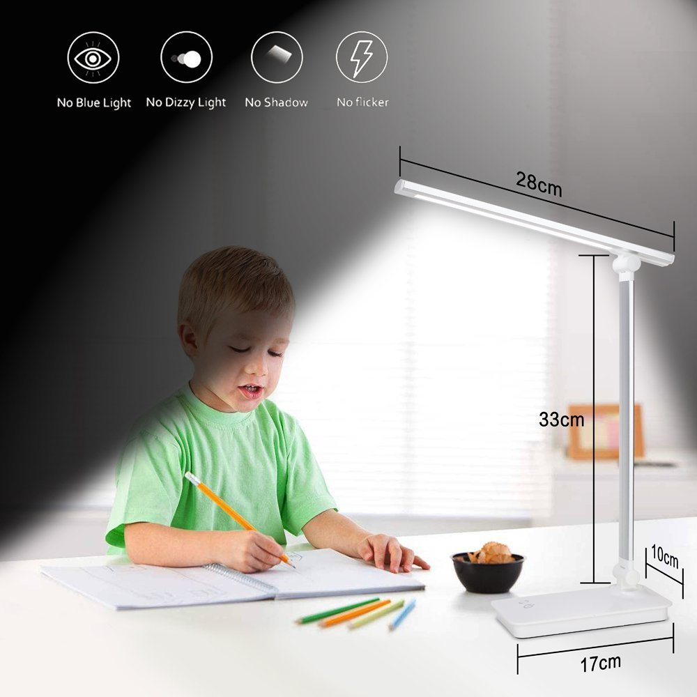LED Desk Lamp Eye-caring Table Lamp With USB Charging Port Touch Control Reading Lamp 3 Color Modes 5 Levels Dimmable LED Lights For Children Study Office lighting (Silver) TOPLINK
