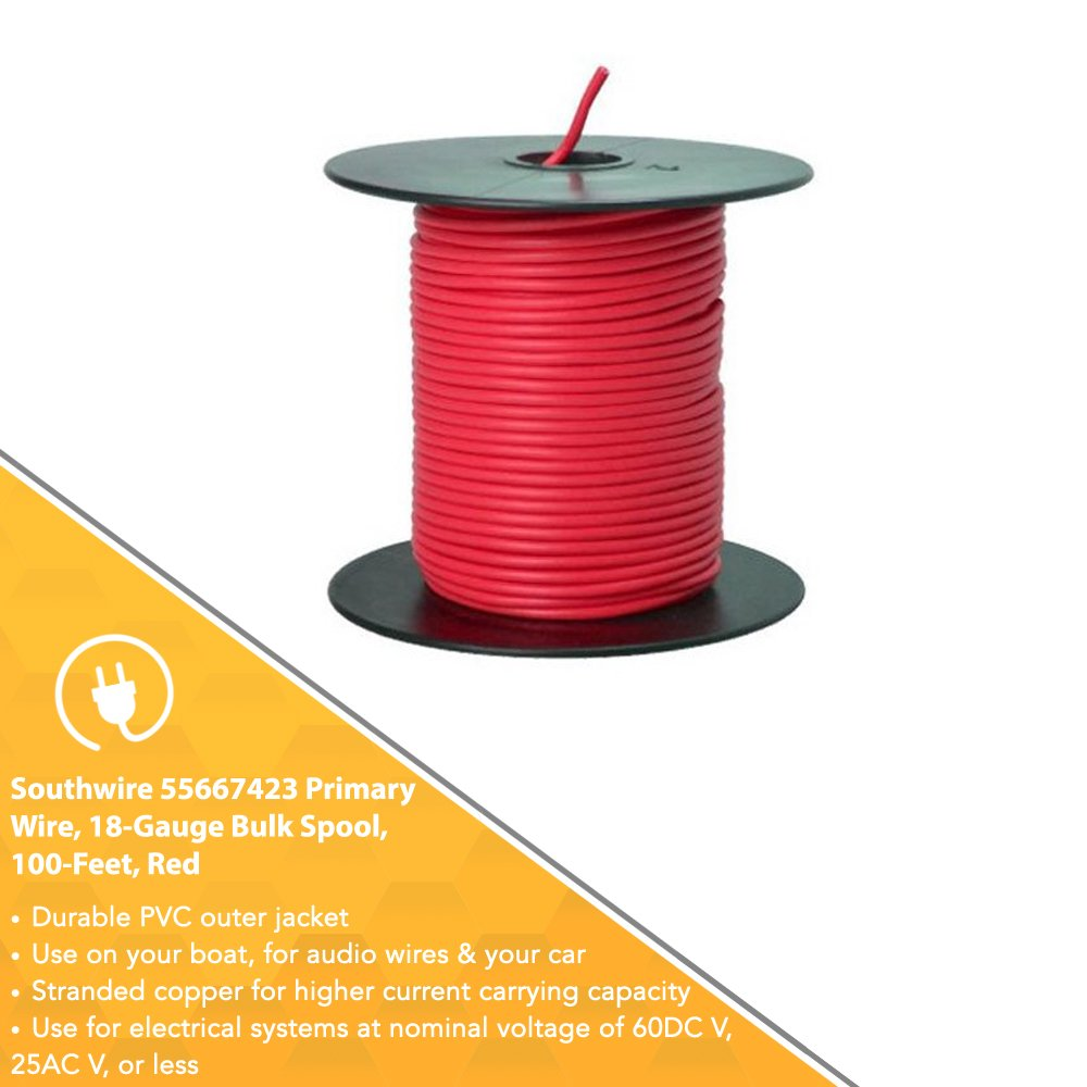 Southwire 55667423 Primary Wire 18 Gauge Bulk Spool 100 Feet Red Residential Wiring Made Easy Electrical Wires
