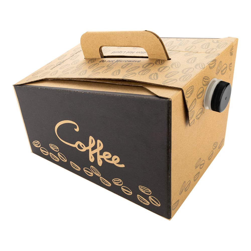 Coffee Take Out Carrier, Disposable Coffee Dispenser, Insulated Hot Cold Bulk Beverage Server - 96 oz, 12 cups - 10ct Box