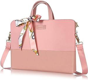 Kamlui Laptop Bag 15.6 Inch - for Women Men Carrying Computer Case Shoulder Messenger MacBook Pro Air(Pink)
