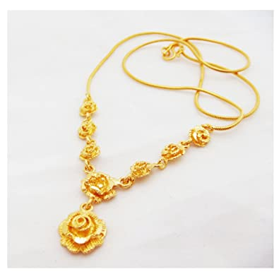Amazon rose flower 22k 23k 24k thai baht yellow gold gp rose flower 22k 23k 24k thai baht yellow gold gp necklace jewelry mightylinksfo