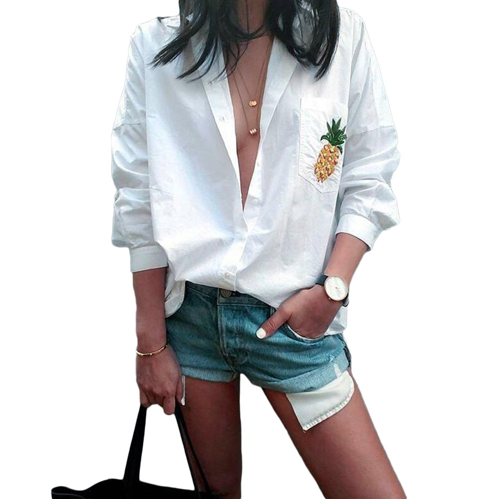Romacci Women Pineapple Print Shirt Pocket Loose Blouse Button Turn Down Collar Long Sleeve Casual Top White