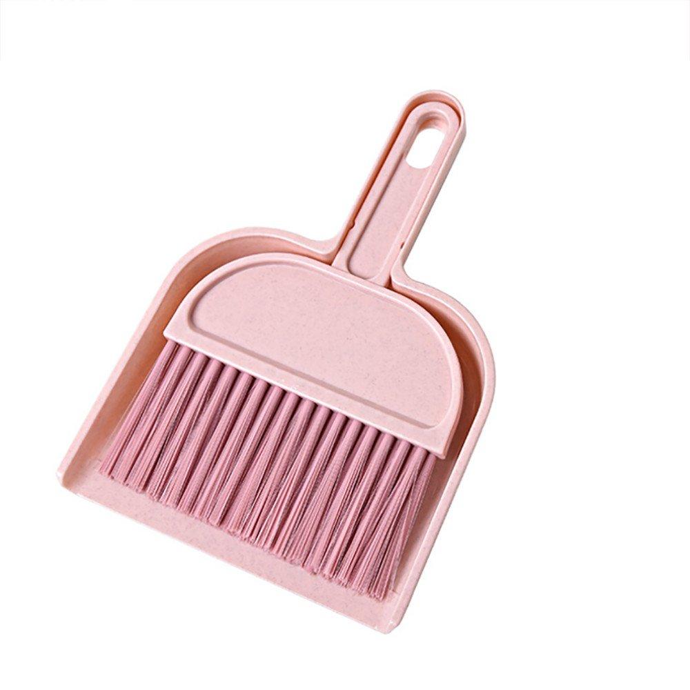 Mome 1PC Mini Desktop Sweep Cleaning Brush Small Broom Dustpan Set (Pink)