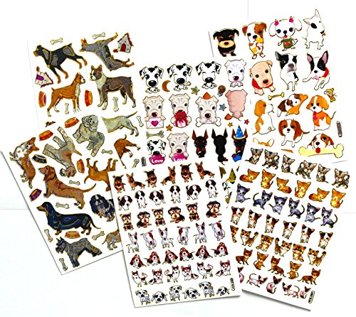 6 Sheet/Set - 5 Sheets of Dog Scrapbook Stickers And 1 Sheet of Cat Scrapbook Stickers - Reflective Stickers - Stickers for Kids - Size 4 x 5.5 Inch./Sheet -