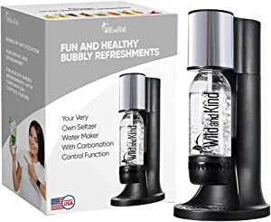 Wild and Kind Sparkling Water Maker, Best Water Carbonator and Soda Maker Machine for Home, Easy to Use, Spill & Leak Free, Your Very Own Seltzer Water Maker With Carbonation Control Function (Black)