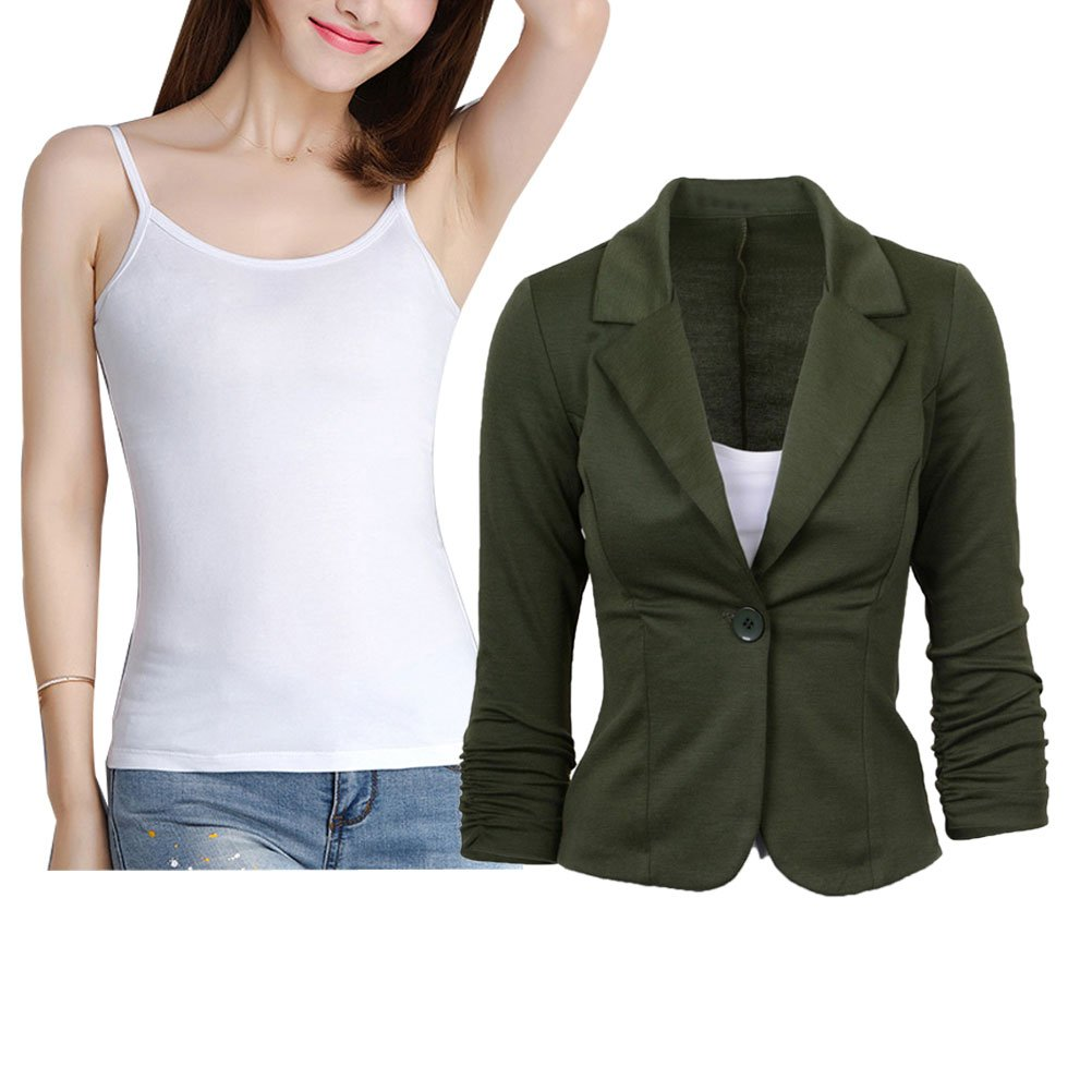 Donalworld Womens Slim Blazer Jacket Suit Work Casual Basic Button Coat Am Tag 2XL by Donalworld