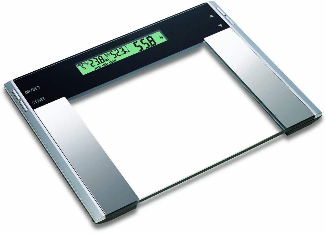 HOMEIMAGE Ultra Wide Glass Body Fat/Hydration Monitor/Bath Scale - 440 lbs.
