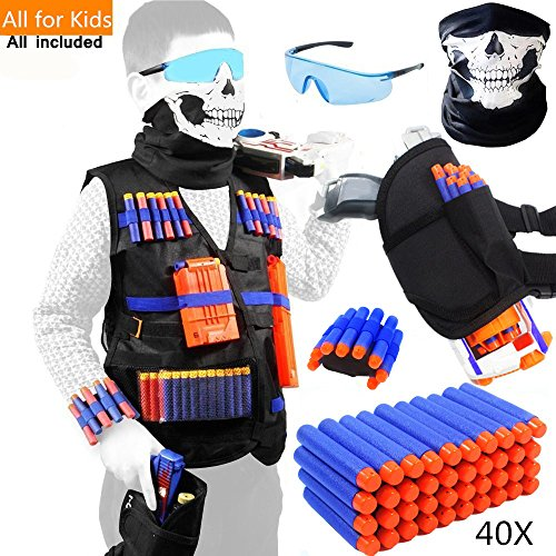 Tactical Vest Kit for Nerf Guns for boys N-Strike Elite Series with Foam Darts for Kids by TAVEKI