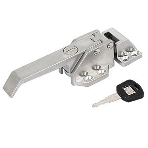 uxcell Zinc Alloy Screw Fixed Freezer Cooler Door Pull Handle Latch Lock Silver Tone