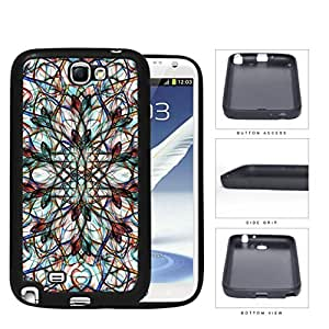 Symmetrical Swirls With Colorful Accents Rubber Silicone TPU Cell Phone Case Samsung Galaxy Note 2 II N7100