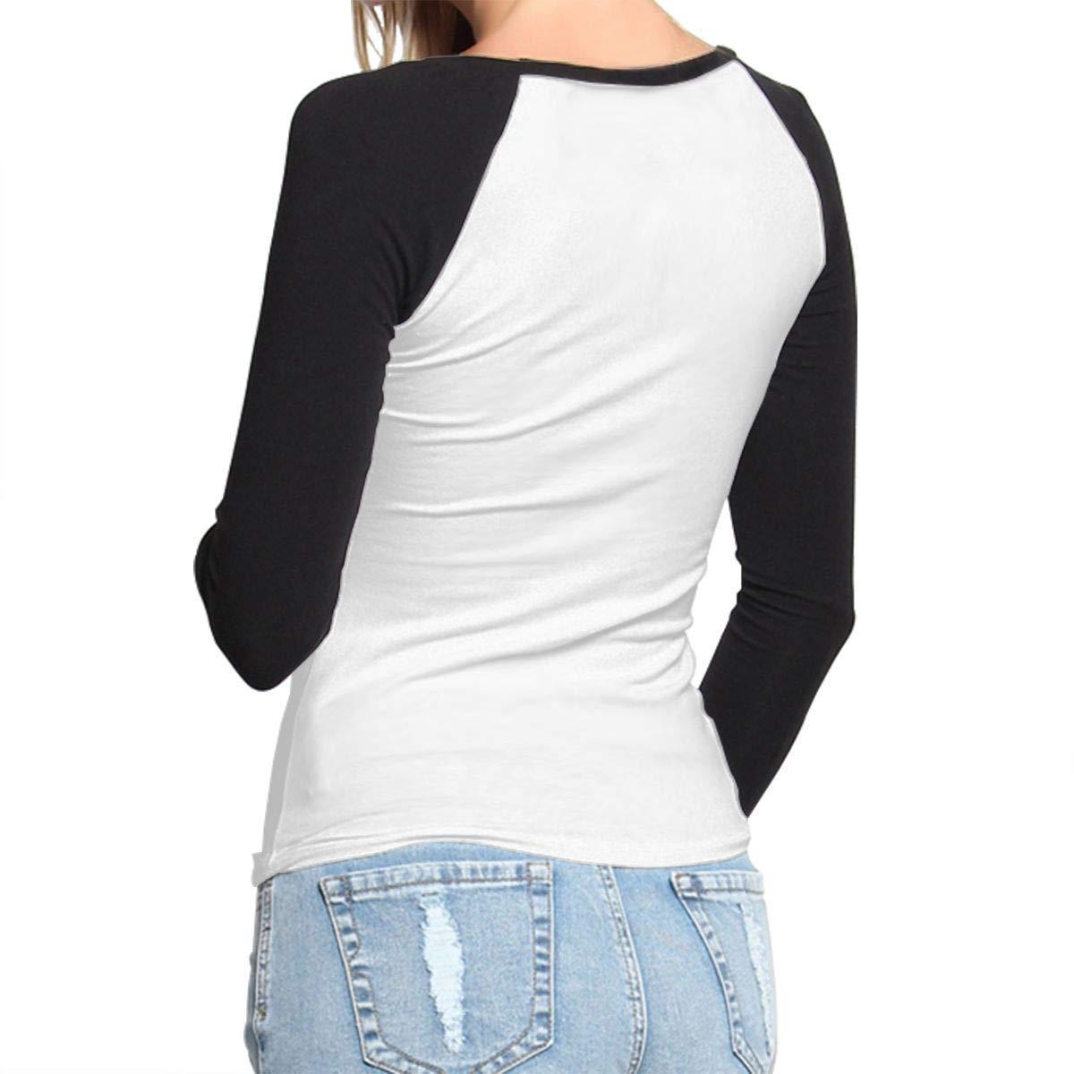 Merry Christmas Womens Raglan Tee Shirts Long Sleeve Womens Baseball Tops Black