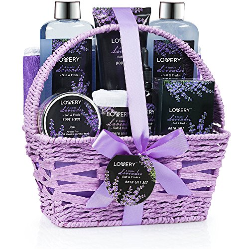 Home Spa Gift Basket, Luxurious 9 Piece Bath & Body Set for Women/Men, Lavender & Jasmine Scent - Contains Shower Gel, Bubble Bath, Body Lotion, Bath Salt, Scrub, Massage Oil, Loofah & Basket