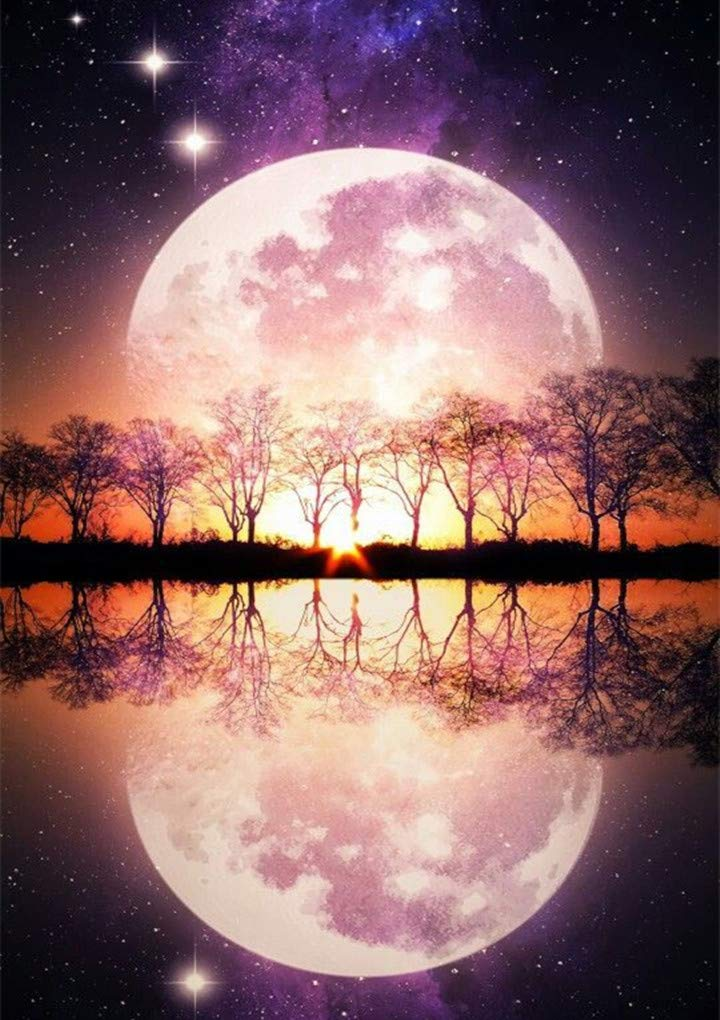 4 Sets 5d Full Drill Diamond Moon Painting Dotz Kits for Adult Children Home Wall Decor 12/×16 INCH