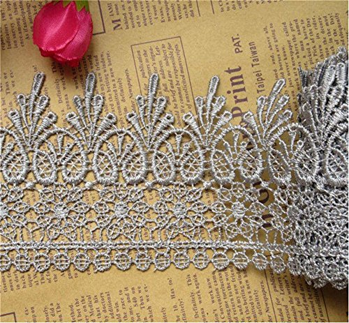 5 Yard Venice Floral Lace Edge Trim Ribbon 9cm Wide Vintage Style 8 Color Edging Trimmings Fabric Embroidered Applique Sewing Craft Wedding Bridal Dress Embellishment Gift Party Decoration(Gray)
