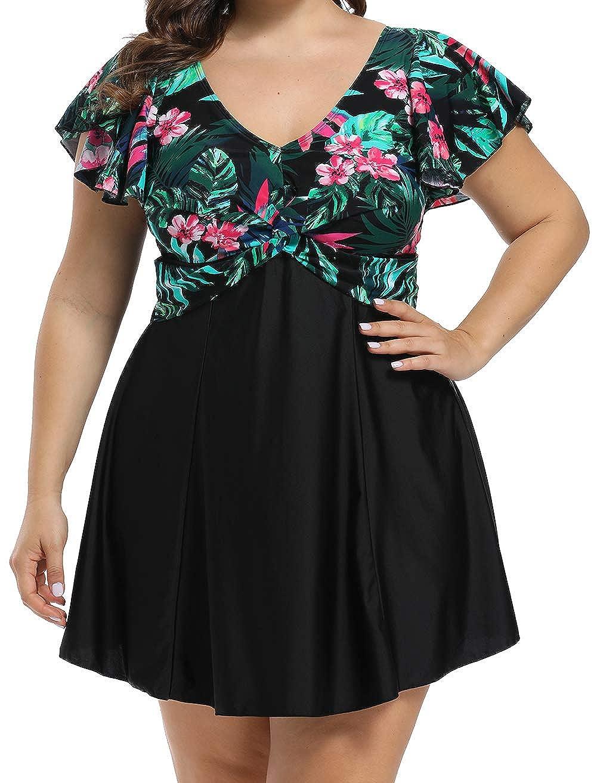 ALeefa Women Plus Size Swimsuit Two Piece V Neck Floral...