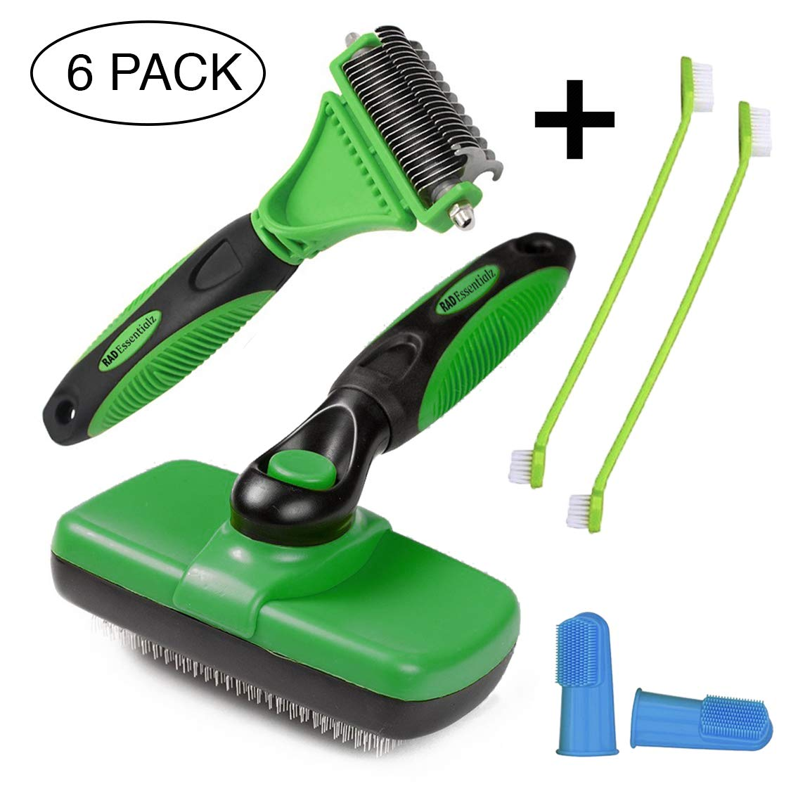 Rad Essentialz Slicker Brush and 2 Sided Undercoat Rake for Dogs & Cats - Pet Grooming Tool - Safe Dematting Comb to Remove Tangles & Mats - Gently Remove Loose Undercoat by Rad Essentialz (Image #1)