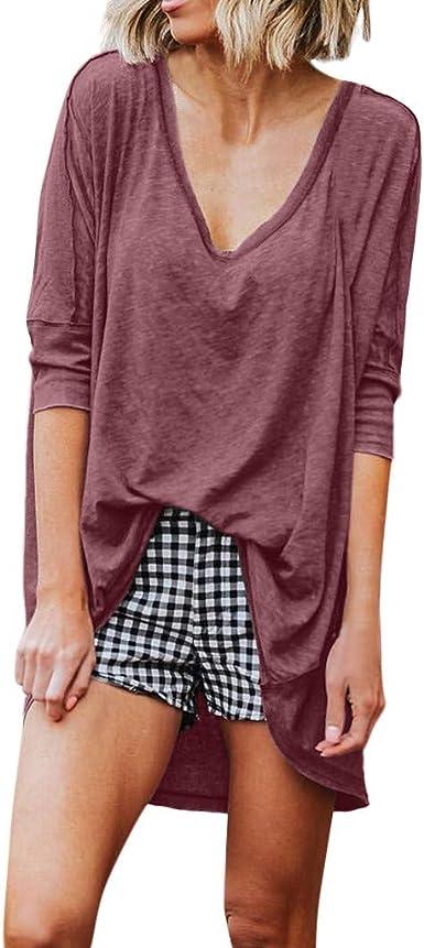 Camisas Mujer Verano Sencillos Blusa Blusas de Manga Larga ...