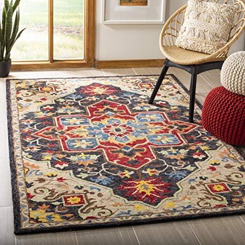 Safavieh Aspen Collection APN511H Handmade Wool Area Rug, 8 x 10 , Charcoal Cream