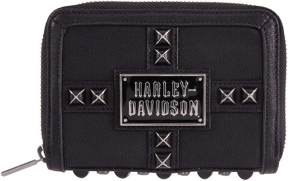Harley-Davidson Women/'s Ride the Line Leather Zip-Around Wallet HDWWA11381-BLK