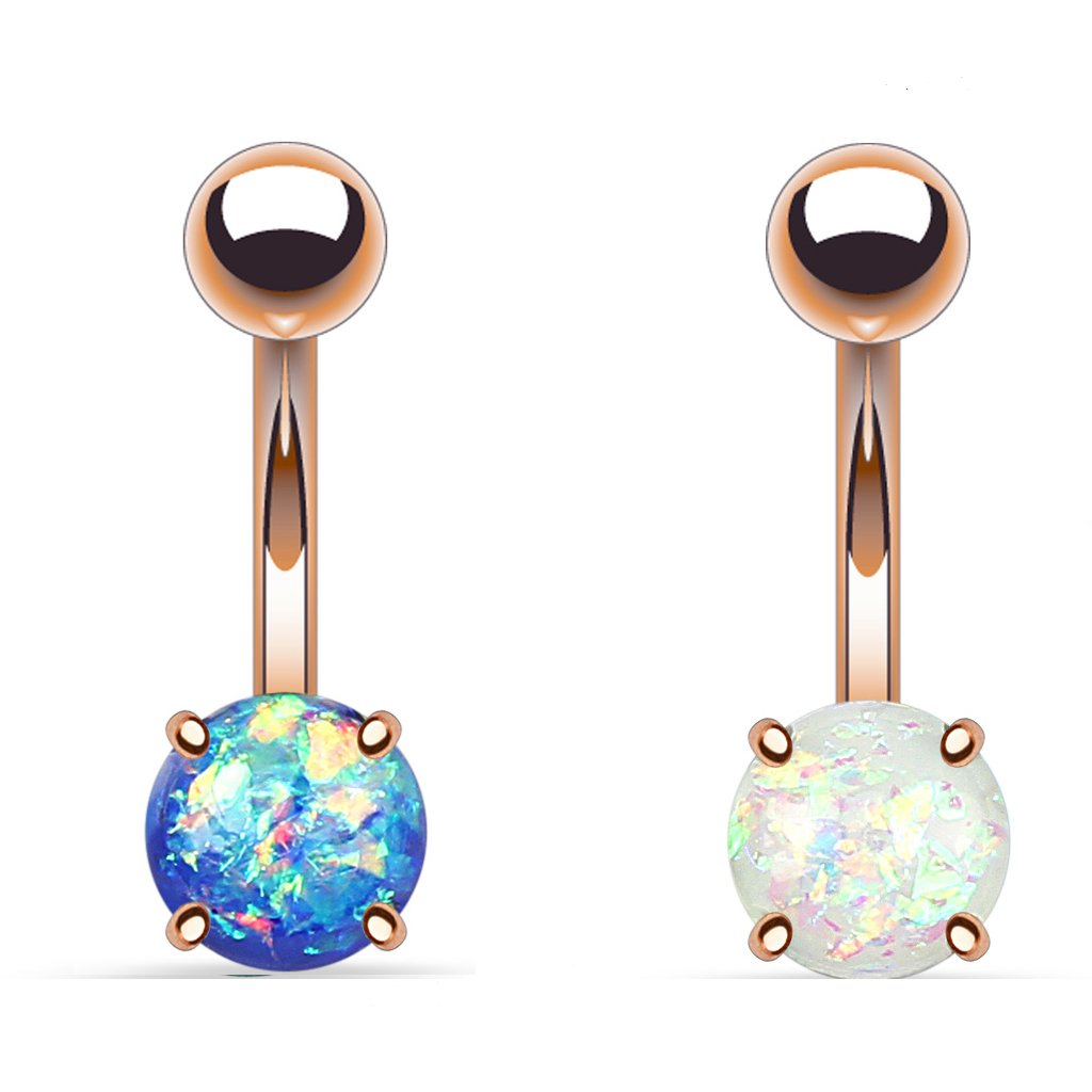 2 - Synthetic Blue and White Opal Glitter Prong Set Rose Gold IP Surgical Steel Belly Button Ring B531 b149