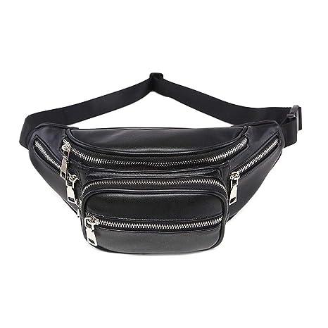 70248106c58 Fanny Pack for Men Waist Bag Black Belt Fanny Pack PU Leather Belt Bag  Stylish Waist Pack for Womens