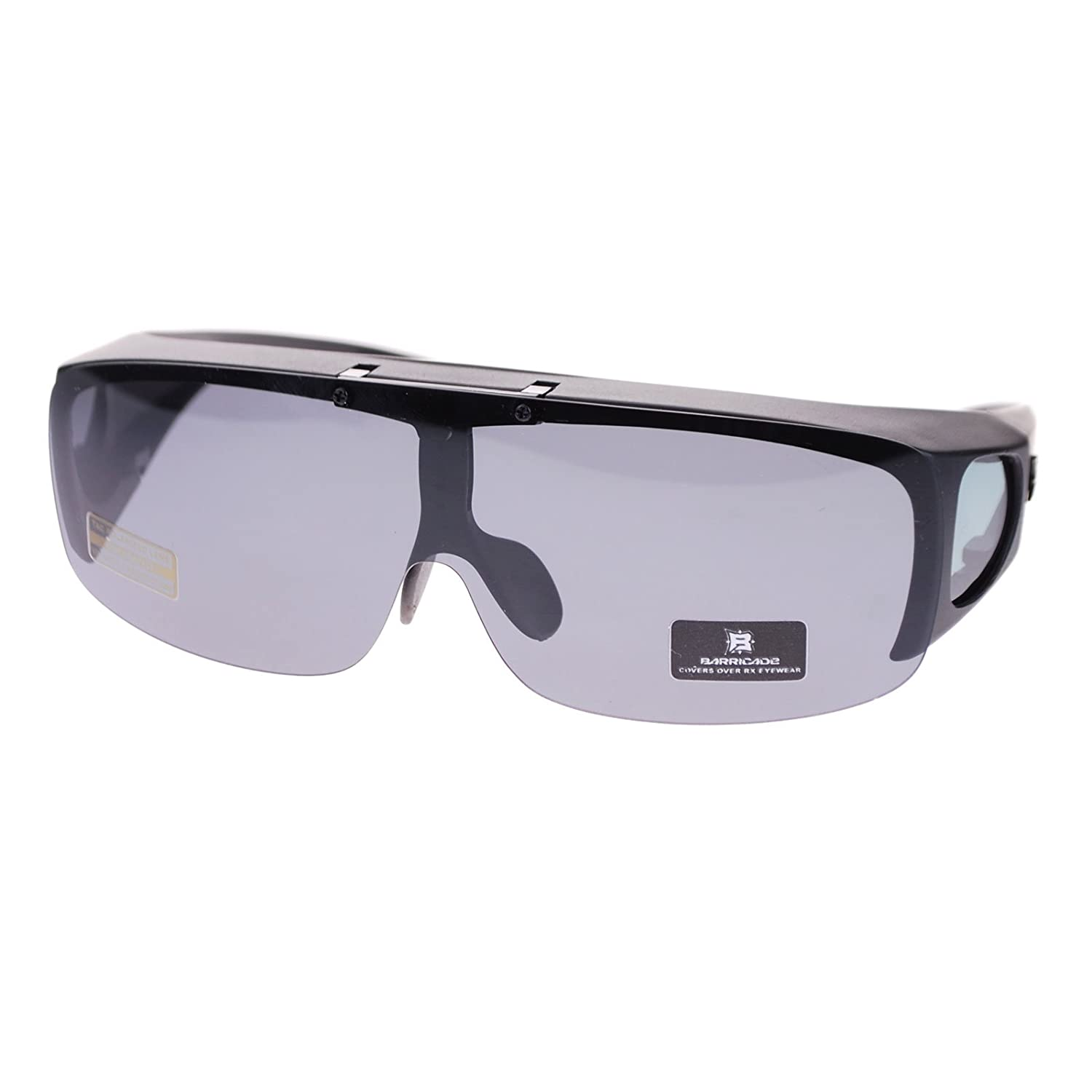 be0a6ece21 Amazon.com  Barricade Large Mens Polarized Flip Up Fitover Sunglasses All  Black  Clothing