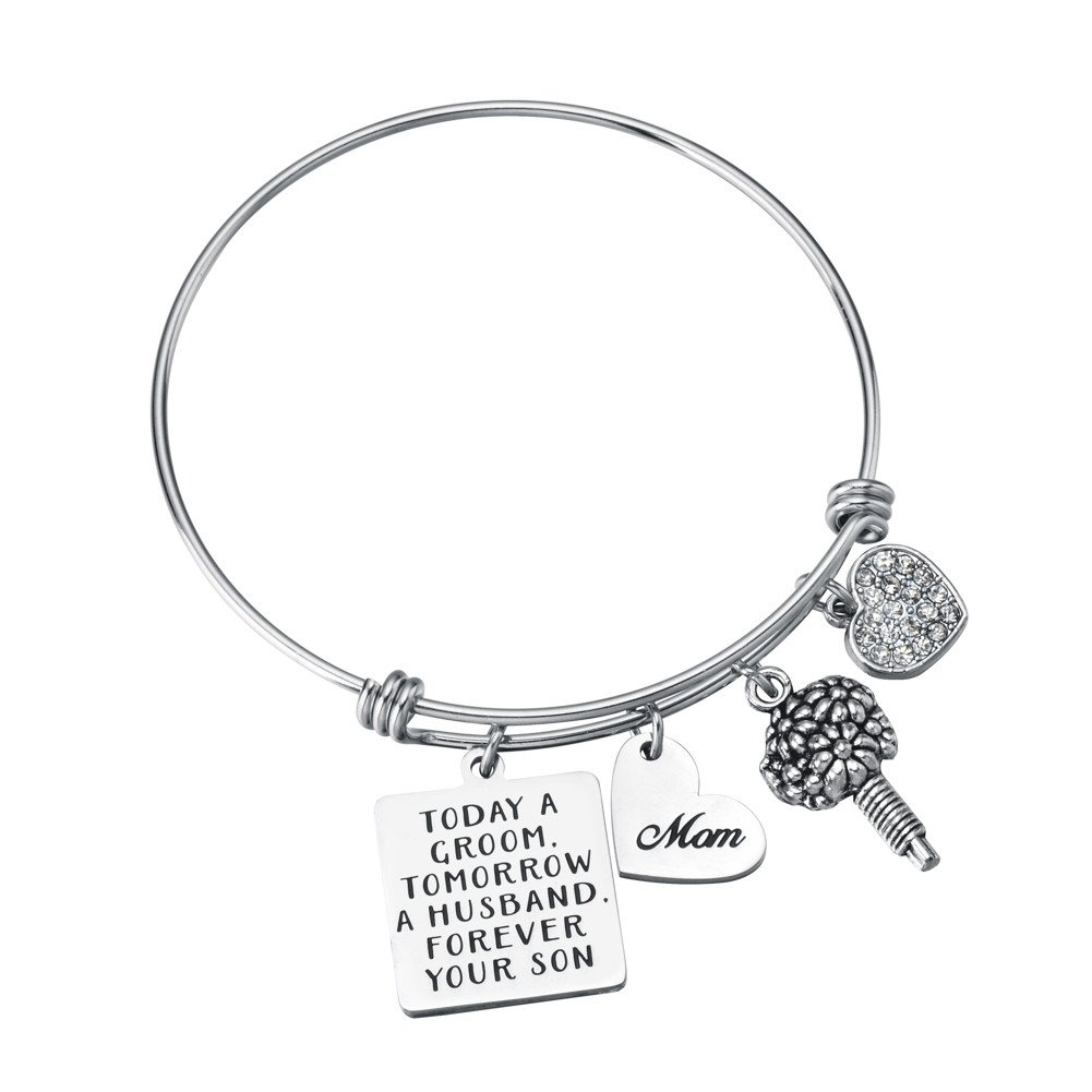 Miss Pink Mother of The Groom Gifts Today a Groom Tomorrow a Husband Forever Your Son Bangle Bracelet Wedding Mothers Day Jewelry from Son