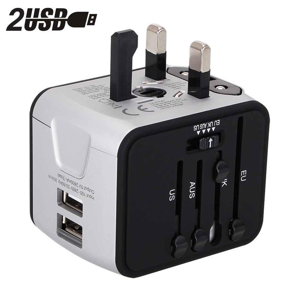 Universal Travel Adapter with 2.4A Dual USB Ports for UK,US,AU,Europe& Asia-Over 150+Countries All in One Plug Adapter USB Power Adapter for iPhone,Android,All USB Devices(Silver)