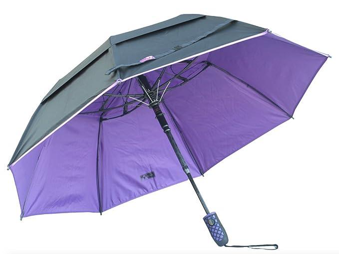 "Black Aspen Solo 46"" Wind Resistant Automatic Umbrella, Jet Black/Purple Gem"