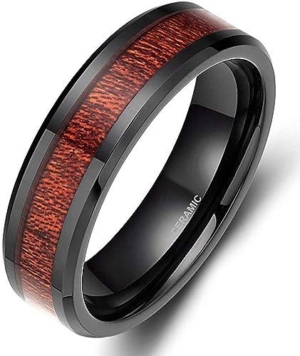 Wedding Bands Classic Bands Flat Bands Black Ceramic Flat 8mm Brushed Band Size 11