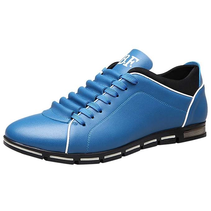 Zapatos Hombre Casuales ZARLLE Zapatos de Cuero Casual de los Hombres Zapatos Planos con Cordones Hombre