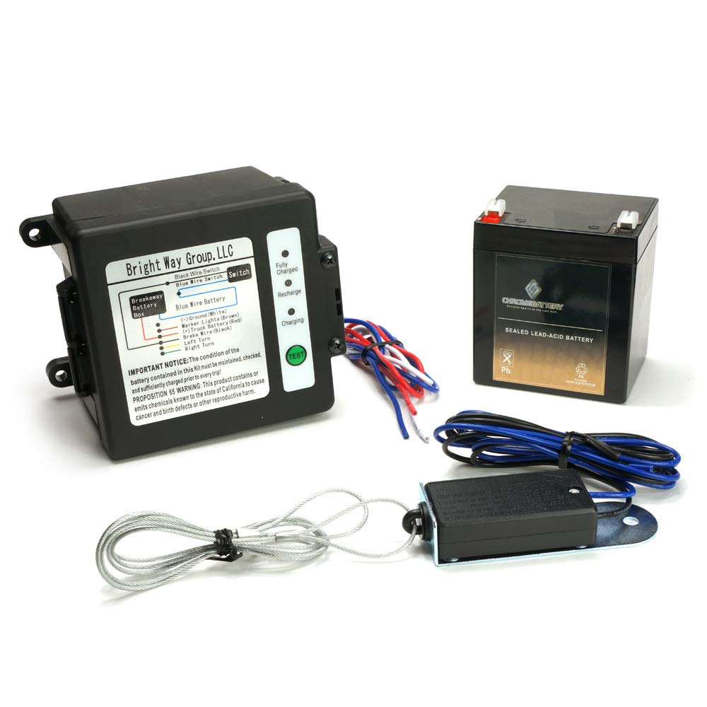 CB CHROMEBATTERY Breakaway Kit (Side-Load) for Trailer with Charger, Switch and 12 Volt 5 Amp Hour SLA Battery with LCD Screen by CB CHROMEBATTERY