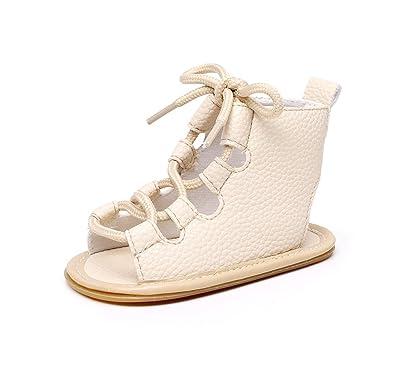 Sandales bébé Fille PU Roman Sandales en Caoutchouc Bottom premières  Chaussures de Marche Bandage Bottes Toddler ca8cb99368f8