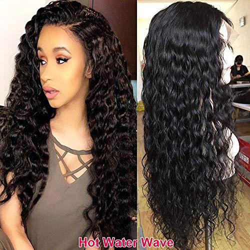 Water Wave Glueless Lace Front Wigs 100% Brazilian Virgin Human Hair Wig for Black Women Pre Plucked With Baby Hair Natural1B Black Wig 130% Density ()