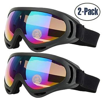 Yithings Gafas de esquí 2 Piezas Gafas al Aire Libre de Nieve Gafas de Protección UV 400 a Prueba de Viento para El Ciclismo de Esquí Motociclismo ...