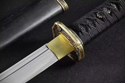 KATANA Japanese Samurai Medium Carbon Steel//Solid Wood Scabbard//Alloy Fittings//Length 39