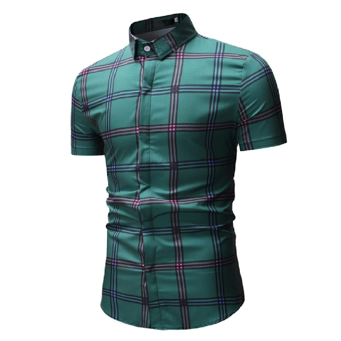 Mfasica Men Plaid Pattern Square Collor Casual Short-Sleeve Shirt