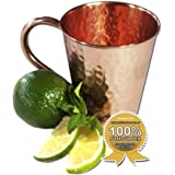 Moscow Mule Full Copper Mug – Authentic Solid Pure All Copper Cup – 16oz Tapered Design –Hand Hammered Finish – By Stubborn Mule