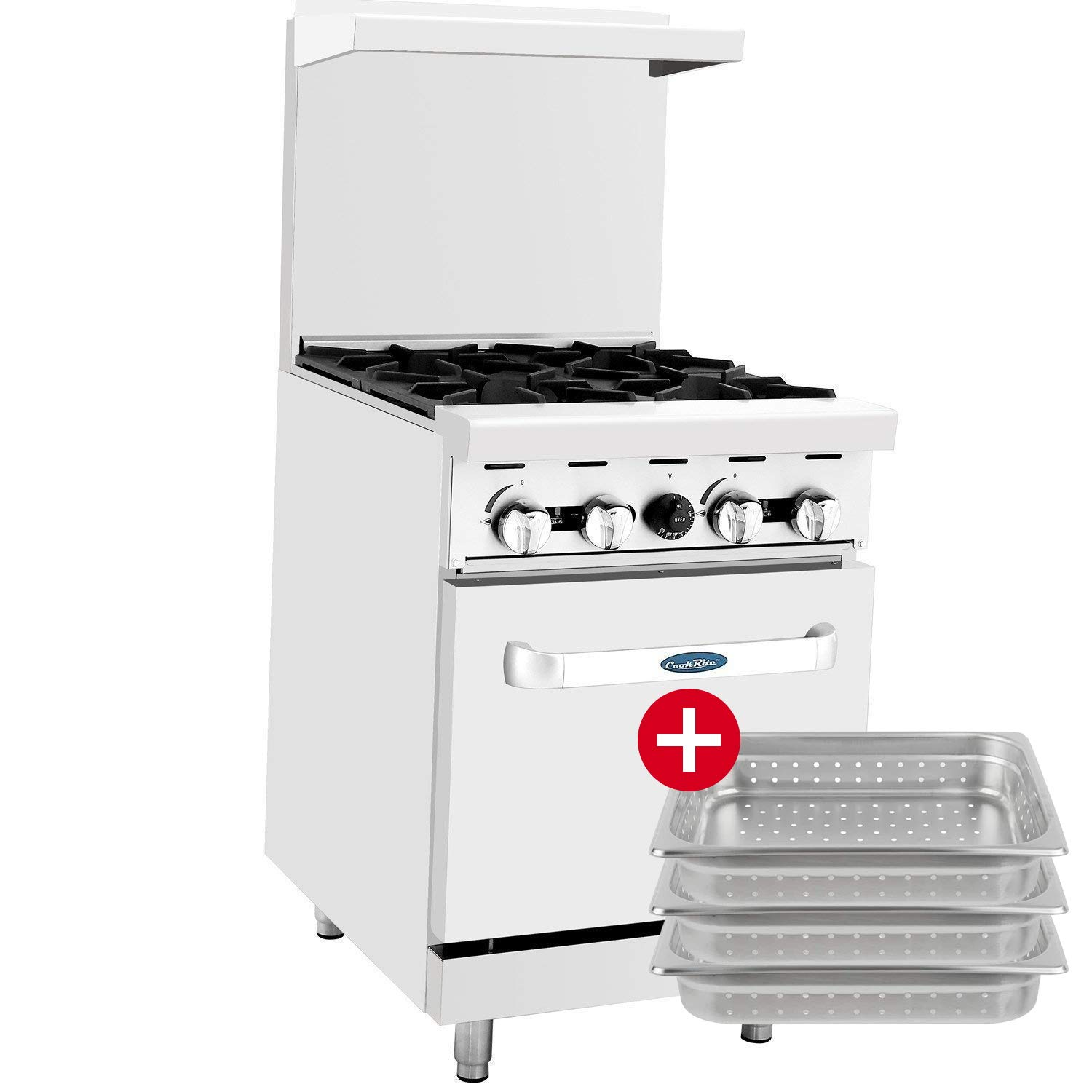 CookRite ATO-4B Commercial Natural Gas Range 24'' 4 Burner Hotplates With Standard Oven For Restaurant - 124,000 BTU by <br>ATOSA US