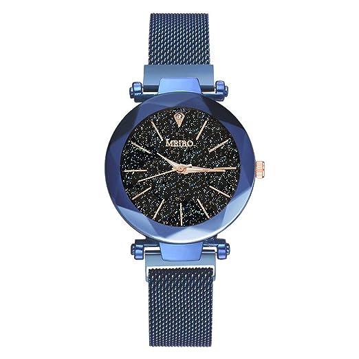 12shage/Reloj Inteligente Mujeres Cuarzo Banda de Acero Inoxidable imán Hebilla Cielo Estrellado Reloj analógico MEIBO: Amazon.es: Relojes