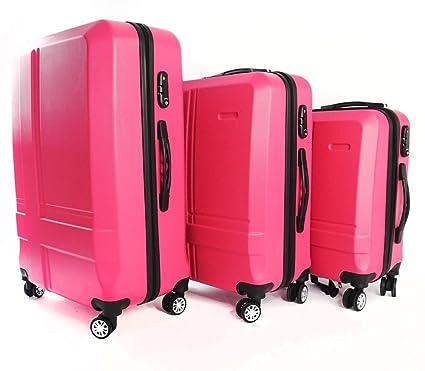 3 piezas Juego Set maletas con ruedas y candado Maleta 4 ruedas rígida 165527 Viaje Vacaciones
