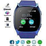 Reloj Inteligente Bluetooth, KeepGoo SmartWatch Soporte SIM / TF Reloj de Pulsera con Cámara Reproductor de música Facebook WhatsApp Sync SMS Smartwatch Soporte SIM TF tarjeta para para el iPhone 7 8 7 Plus 6 Samsung S8 y otros teléfonos inteligentes Android o iOS (Azul)